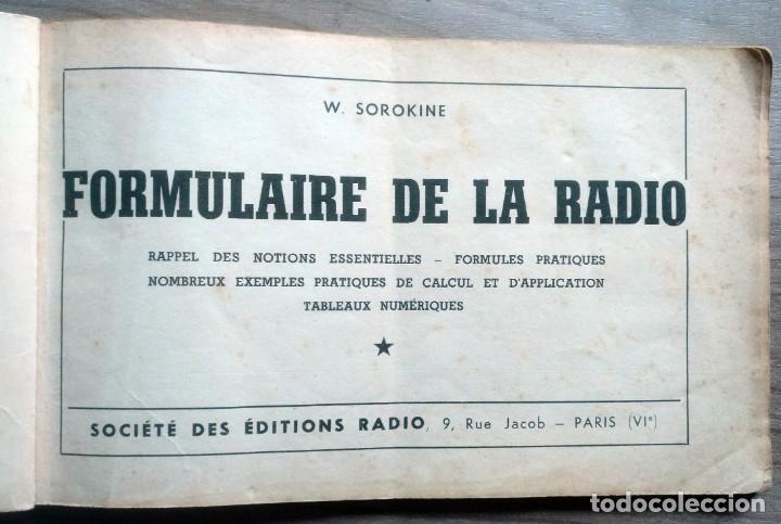 Radios antiguas: libro, electronica, formulalrio, formulaire radio, paris, esta en frances - Foto 3 - 241482255
