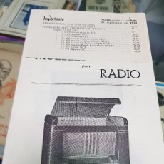 Radios antiguas: ANTIGUO CATALOGO TARIFA DE PRECIOS MUEBLES RADIO ELIA MADRID. Lote 188403347