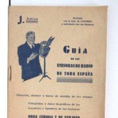 Radios antiguas: GUÍA DE LAS EMISORAS DE RADIO DE TODA ESPAÑA – FOTOGRAFÍAS Y DATOS BIOGRÁFICOS. Lote 188493825