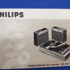 Radios antiguas: PHILIPS , INSTRUCCIONES DE MANEJO TOCADISCOS 30 GF 432. Lote 189140441