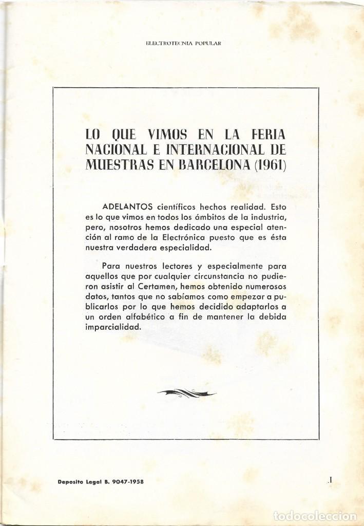 Radios antiguas: CATÁLOGO ELECTROTENIA POPULAR NOVEDADES XXIX FERIA NACIONAL E INTERNACIONAL DE MUESTRAS AÑO 1961 - Foto 2 - 189287525