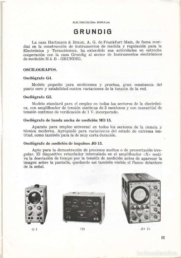 Radios antiguas: CATÁLOGO ELECTROTENIA POPULAR NOVEDADES XXIX FERIA NACIONAL E INTERNACIONAL DE MUESTRAS AÑO 1961 - Foto 3 - 189287525