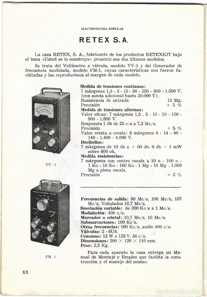 Radios antiguas: CATÁLOGO ELECTROTENIA POPULAR NOVEDADES XXIX FERIA NACIONAL E INTERNACIONAL DE MUESTRAS AÑO 1961 - Foto 4 - 189287525