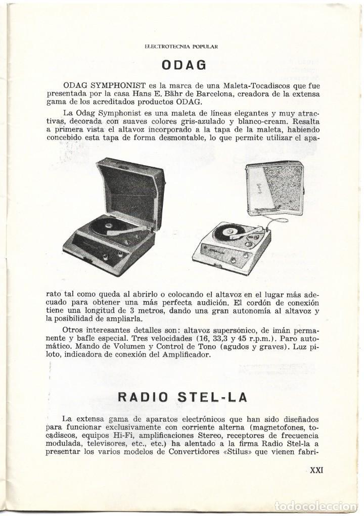 Radios antiguas: CATÁLOGO ELECTROTENIA POPULAR NOVEDADES XXIX FERIA NACIONAL E INTERNACIONAL DE MUESTRAS AÑO 1961 - Foto 5 - 189287525