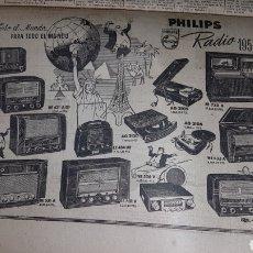 Radios antiguas: ANUNCIO PHILIPS RADIO 1954. Lote 190432320