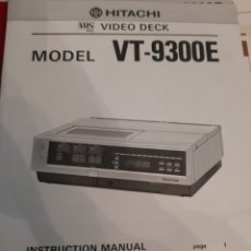 Radios antiguas: HITACHI VHS VIDEO TV 9300 E MANUAL INSTRUCCIONES. Lote 191264393