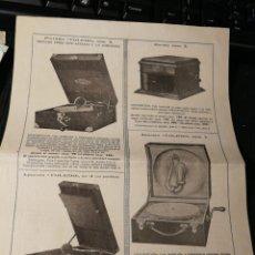 Radios antiguas: MANOFACTURAS TOLEDO. PUBLICIDAD DE GRAMOFONO.. Lote 194752493