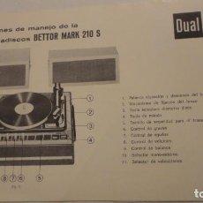 Radios antiguas: FOLLETO INSTRUCCIONES MANEJO.MALETA TOCADISCOS.BETTOR MARK 210 S DUAL.BARCELONA. Lote 195041072