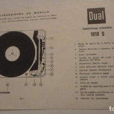 Radios antiguas: INSTRUCCIONES DE MANEJO.TOCADISCOS BETTOR S.A BARCELONA DUAL 1010 S.. Lote 195041423