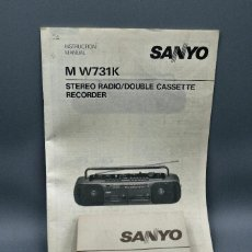 Radios antiguas: SANYO INSTRUCTION MANUAL M W731K STERIO RADIO/DOBLE CASSETE RECORDER. Lote 195337635