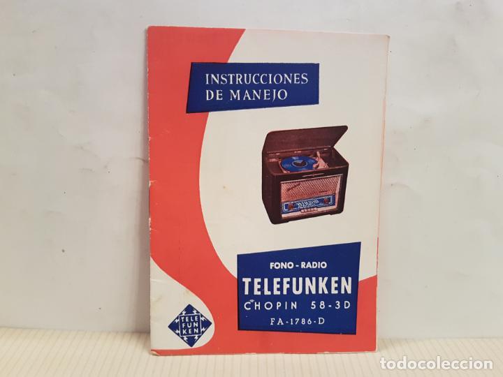 ANTIGUO CATALOGO INSTRUCCIONES DE MANEJO FONO-RADIO TELEFUNKEN BUENISIMO ESTADO (Radios, Gramófonos, Grabadoras y Otros - Catálogos, Publicidad y Libros de Radio)