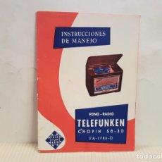 Radios antiguas: ANTIGUO CATALOGO INSTRUCCIONES DE MANEJO FONO-RADIO TELEFUNKEN BUENISIMO ESTADO. Lote 197710500