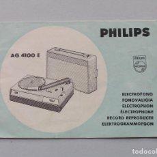 Radios antiguas: MAUAL DE INSTRUCCIONES PHILIPS AG 4100 E. Lote 198835785