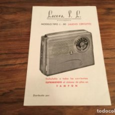 Radios antiguas: CATALOGO LACORA S.L MONTAJE RADIO MODELO L- 80 . Lote 199234751