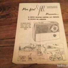 Radios antiguas: CATALOGO LABORATORIOS RADIO - ELECTRICOS RECEPTOR CAMPING 651. Lote 199235340