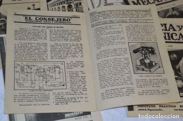Radios antiguas: Lote documentos curso CIENCIA y MECÁNICA / Instituto RosenKranz / Los Ángeles USA - 1935/36 ¡Mira! - Foto 8 - 202891783