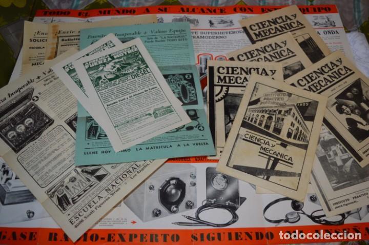 LOTE DOCUMENTOS CURSO CIENCIA Y MECÁNICA / INSTITUTO ROSENKRANZ / LOS ÁNGELES USA - 1935/36 ¡MIRA! (Radios, Gramófonos, Grabadoras y Otros - Catálogos, Publicidad y Libros de Radio)