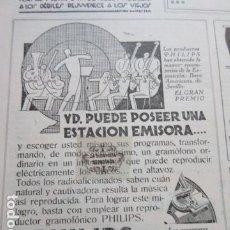 Radios antiguas: RECORTE PUBLICIDAD 1930 - PHILIPS RADIO ALTAVOCES RECEPTORES - 12 X 16 CM.. Lote 204518473