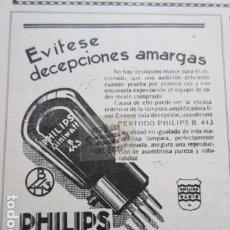 Radios antiguas: RECORTE PUBLICIDAD 1930 - PENTODO PHILIPS B 443 LAMPARAS MINIWATT - 12 X 15 CM.. Lote 204520240