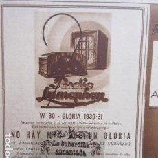 Radios antiguas: PUBLICIDAD 1930 - COLECCION RADIOS W 30 GLORIA LUMOPHON IRUN J. GORTARI - TAMAÑO 12 X 15 CM.. Lote 204777927