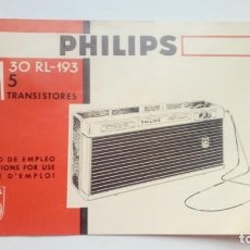 Radios antiguas: MANUAL MODO DE EMPLEO TRANSISTOR PHILIPS AM 30 RL-193. Lote 204822575