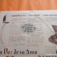 Radios antiguas: PUBLICIDAD 1932 - LA VOZ DE SU AMO - TAMAÑO 26 X 18 CM.. Lote 204994886