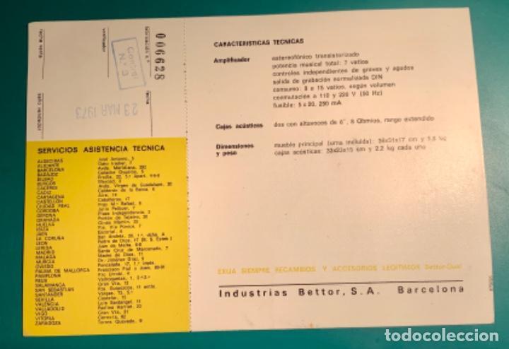 Radios antiguas: INSTRUCCIONES DE MANEJO EQUIPO ESTEREOFÓNICO COMPACTO EF 43 BETTOR AÑO 1973 - Foto 3 - 205321855