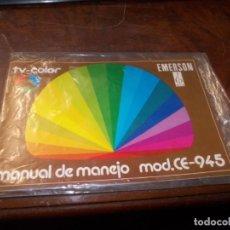 Radios antiguas: MANUAL DE MANEJO TV-COLOR EMERSON MOD. CE-945. Lote 205733713