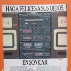 Radios antiguas: PUBLICIDAD 1987 - ELECTRONICA - SONICAR SONY HI FI FC-710 - TAMAÑO 22,5 X 30 CM. Lote 205768841