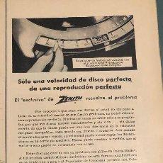 Radios antiguas: PUBLICIDAD DE PRENSA DE TOCADISCOS-RADIO ZEBRA. ORIGINAL AÑO 1954. 14 X 35 CM. BUEN ESTADO.. Lote 206286325