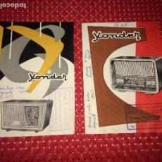Radios antiguas: YONDER - RECEPTORES DE RADIO - AÑOS 50 - 2 HOJAS PUBLICITARIAS - CARACTERÍSTICAS Y PRECIOS. Lote 206508511