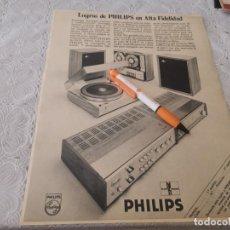 Radios antiguas: TOCADISCOS AMPLIFICADOR SINTONIZADOR PHILIPS ANTIGUO ANUNCIO PUBLICIDAD REVISTA. Lote 206793583