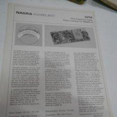 Radios antiguas: FICHA DESCRIPTIVA COMPONENTE NAGRA. Lote 206939400