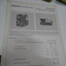 Radios antiguas: FICHA DESCRIPTIVA COMPONENTE NAGRA. Lote 206939470