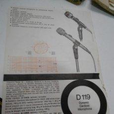 Radios antiguas: FICHA DESCRIPTIVA DINAMIC MICROPHONE D119. Lote 206939692