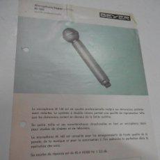 Radios antiguas: FICHA DESCRIPTIVA MICROPHONE HYPER M 160 BEYER. Lote 206939740