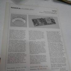 Radios antiguas: FICHA DESCRIPTIVA COMPONENTE NAGRA. Lote 206939798
