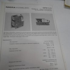 Radios antiguas: FICHA DESCRIPTIVA COMPONENTE NAGRA. Lote 206939810