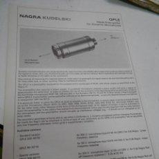 Radios antiguas: FICHA DESCRIPTIVA COMPONENTE NAGRA. Lote 206939832