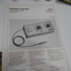 Radios antiguas: FICHA DESCRIPTIVA COMPONENTE NAGRA. Lote 206939857