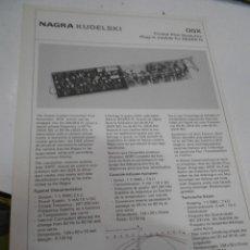 Radios antiguas: FICHA DESCRIPTIVA COMPONENTE NAGRA. Lote 206939945