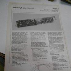 Radios antiguas: FICHA DESCRIPTIVA COMPONENTE NAGRA. Lote 206939971