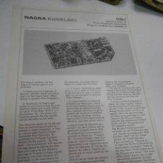 Radios antiguas: FICHA DESCRIPTIVA COMPONENTE NAGRA. Lote 206940018
