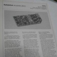 Radios antiguas: FICHA DESCRIPTIVA COMPONENTE NAGRA. Lote 206940067