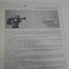 Radios antiguas: FICHA DESCRIPTIVA COMPONENTE NAGRA. Lote 206940093