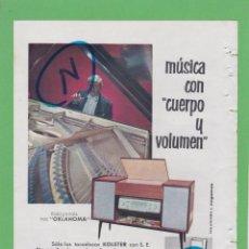 Rádios antigos: PUBLICIDAD T 1961. ANUNCIO RADIOGRAMOLA MOD. OKLAHOMA. TOCADISCOS KOLSTER. Lote 206947491