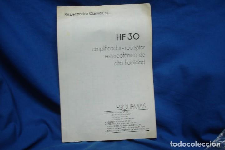 ESQUEMAS DE AMPLIFICADOR RECEPTOR HF30 - ELECTRÓNICA CLARIVOX (Radios, Gramófonos, Grabadoras y Otros - Catálogos, Publicidad y Libros de Radio)