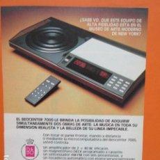 Radios antiguas: PUBLICIDAD 1981 - BANG & OLUFSEN BEOCENTER 7000. Lote 210007900