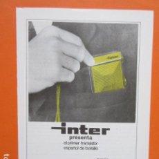 Radios Anciennes: PUBLICIDAD 1968 - RADIO INTER. Lote 210008206