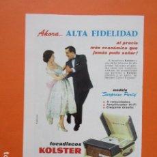 Radios antiguas: PUBLICIDAD 1959 - RADIO ALTA FIDELIDAD KOLSTER TOCADISCOS. Lote 210008585